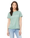 BELLA+CANVAS Women's Relaxed Fit Short Sleeve Tee- Dusty Green
