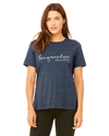 BELLA+CANVAS Women's Relaxed Fit Short Sleeve Tee- Heather Navy