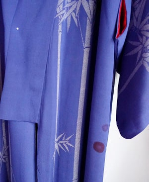Image of Silke kimono - Midnatsblå med fugle og bambus /'Too Fairy'