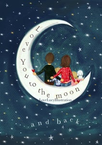 Image of Personalised Love You To The Moon And Back Illustration
