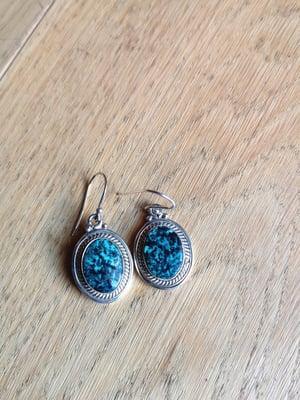 Image of Boucles d'oreilles turquoise du tibet ref. 6561