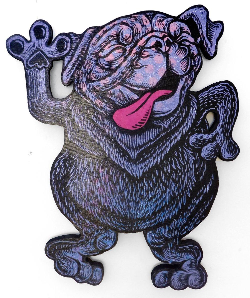 Dancing Pug Print on Wood **FREE SHIPPING