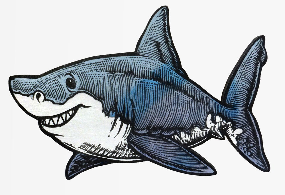 Great White Shark Print on Wood **FREE SHIPPING