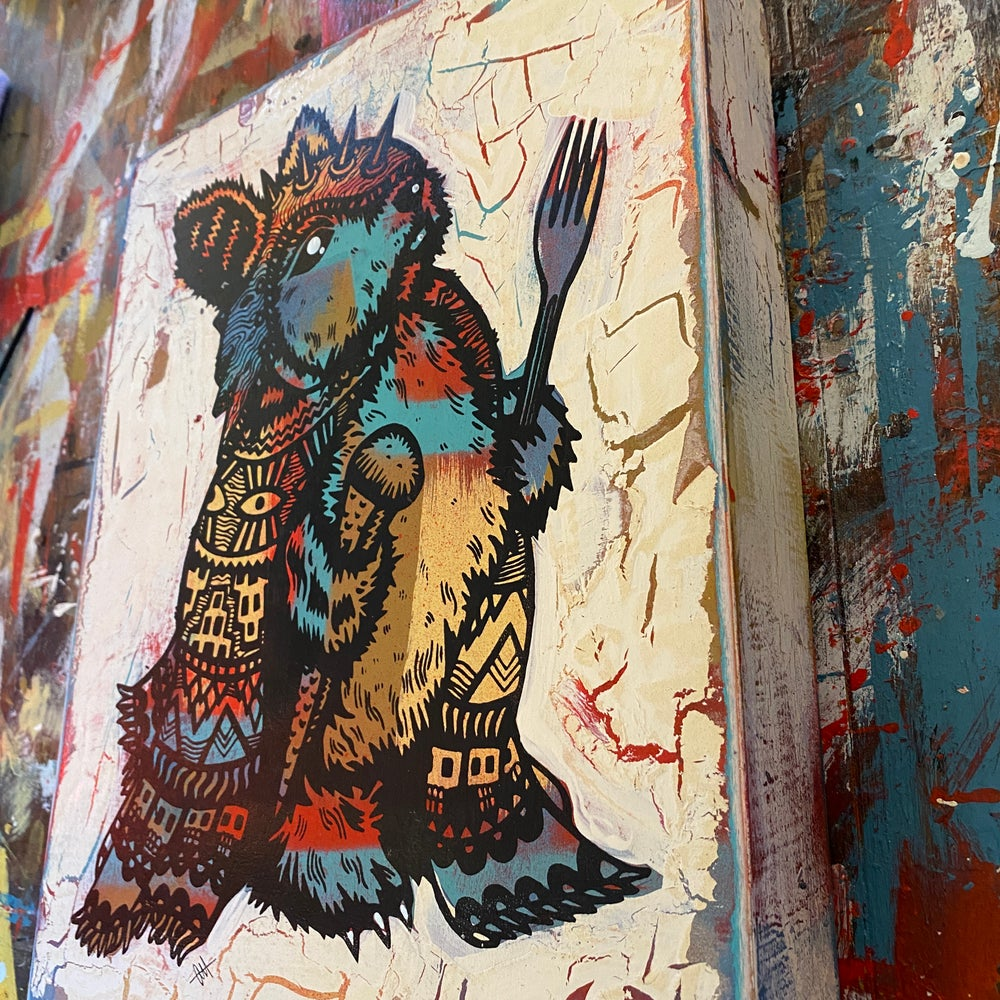Image of The Peckish Assassin on Distressed Pine Panel