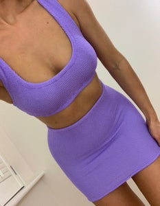 Image of Lilac Mini Crop Shorts OR Skirt Co-Ord