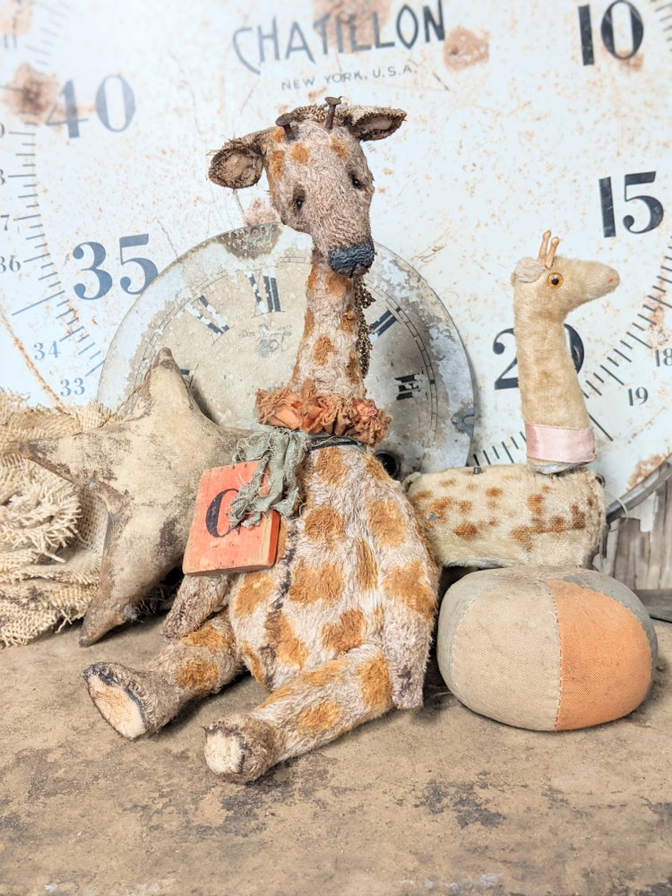 "Image of NEW DESIGN - G is for Giraffe - 10"" Vintage Style Giraffe w/ antique wood toy block - Whendi;s Bears"