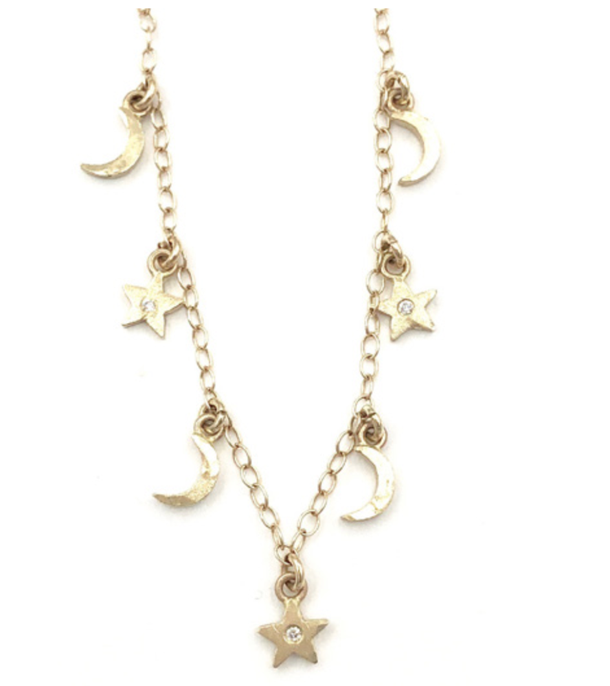 Image of 14 kt and diamond Moons and Stars Dangle Necklace