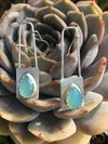 Aqua Chalcedony & Silver Drop Earrings