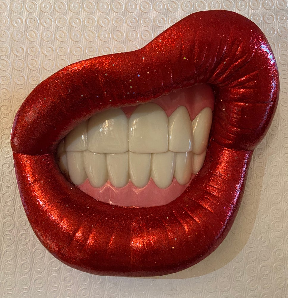"""Image of Colin Christian """"Lipsex"""" Sculpture, Red Flake & holographic stars"""