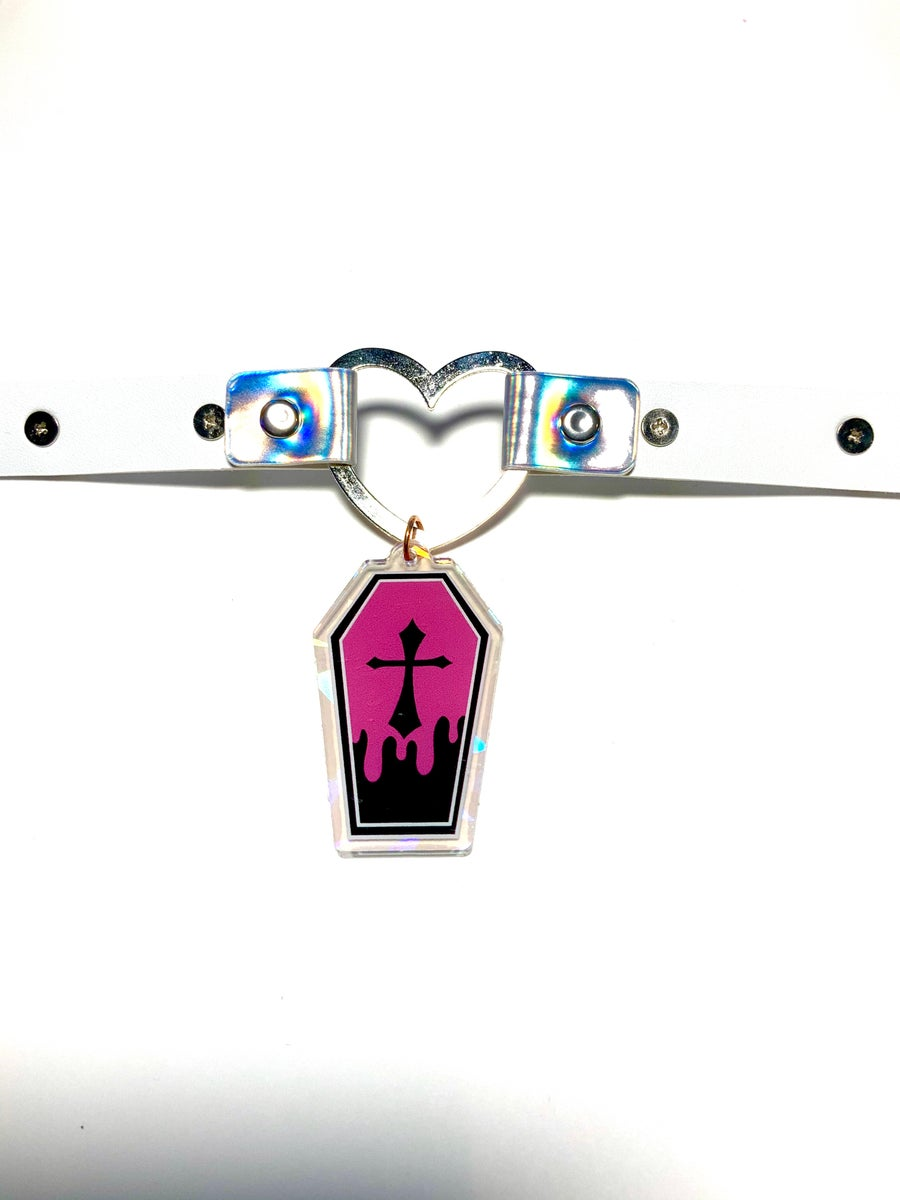 Image of Pink Coffin Holographic Heart-Ring Choker