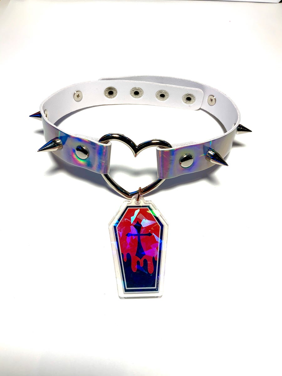 Image of Red Coffin Holographic Heart-Ring Choker