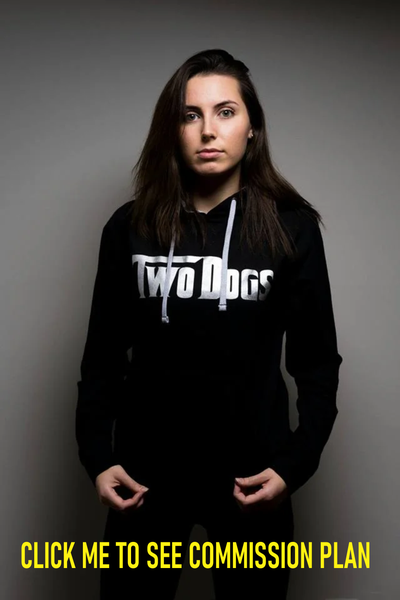 Image of SILVER ON BLACK TWO DOGS HOODIE
