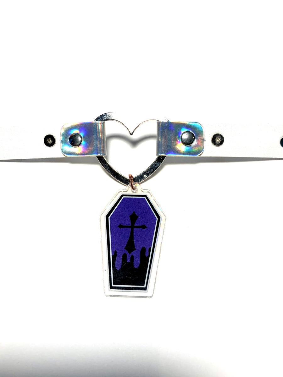 Image of Purple Coffin Holographic Heart-Ring Choker