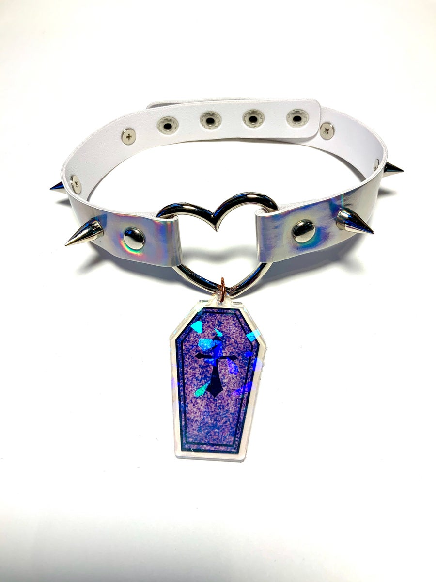 Image of Purple Glitter Coffin Holographic Heart-Ring Choker