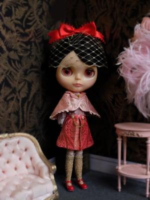 Image of Lounging Linda ~ Preppy Princess Set - with Blythe Fascinator (Red & Pink)
