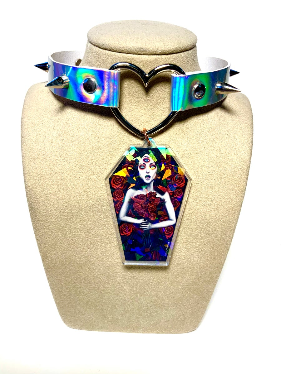 Image of Helena Coffin Holographic Heart-Ring Choker