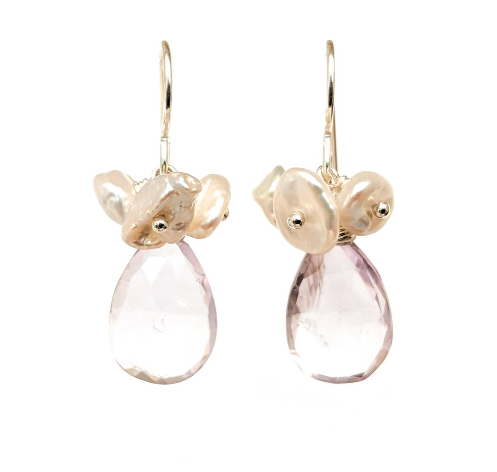 Image of Pale Amethyst Earrings Keshi Pearl