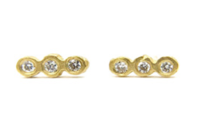 Image of 14 kt Gold and Diamond Stud Earrings (4 Styles)