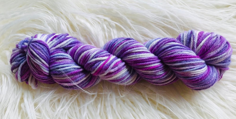 Hand Dyed 8ply Wool Rolling Hills and Purple Sweets