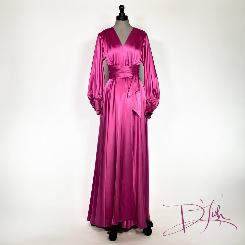 "Image of Fuchsia ""Beverly"" Dressing Gown w/ Swarovski Crystal Buttons"