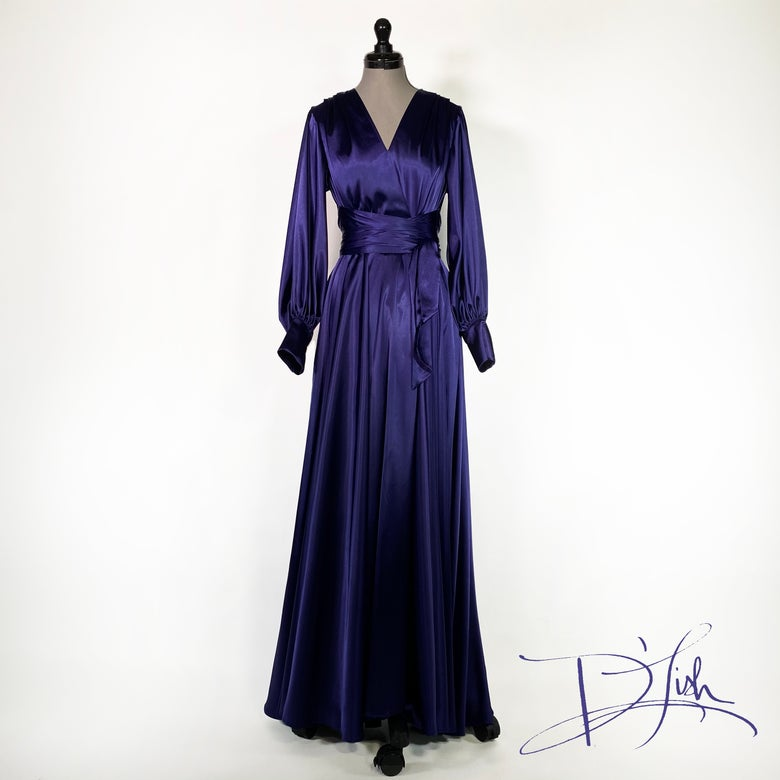 "Image of Royal Purple ""Beverly"" Dressing Gown w/ Swarovski Buttons"