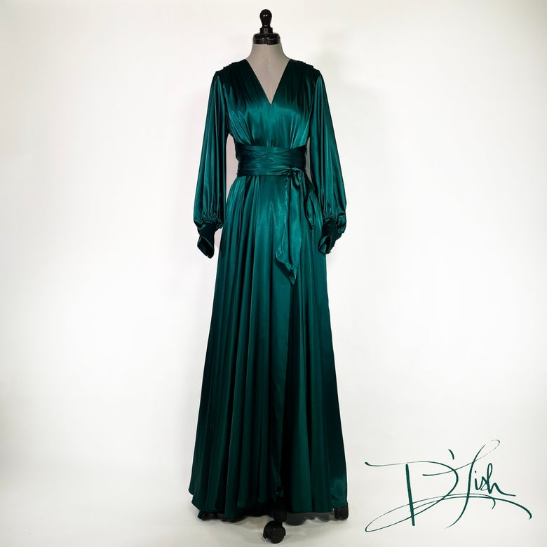 "Image of Deep Emerald ""Beverly"" Dressing Gown w/ Crystal Buttons"