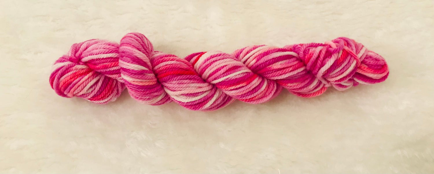 Image of Hand Dyed 8ply Wool Citrus and Popping Pink