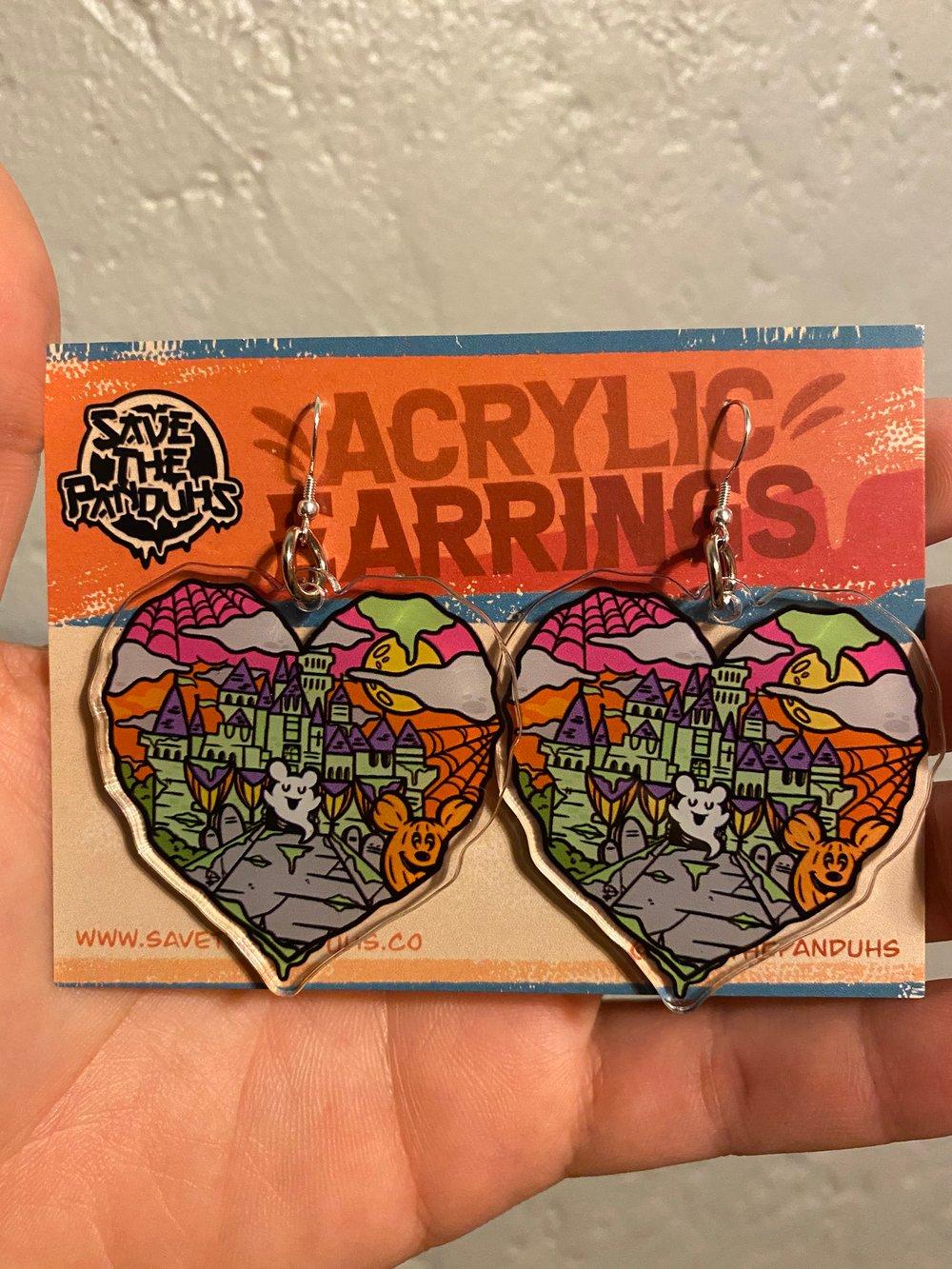 """Halloween Castle Love  2"""" Acrylic Earrings"""