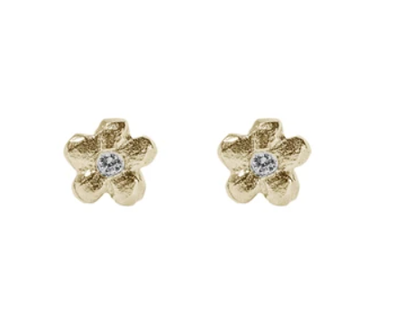 Image of 14 kt Flower and Diamond Studs or Dangles(4 Kinds)