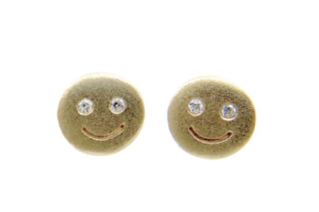 Image of 14 kt and Diamond Studs (Butterflies, Peace Signs, or Smileys)