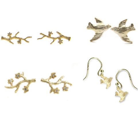 Image of 14 kt and Diamond Branch Studs, Bird Studs or Bird Dangles