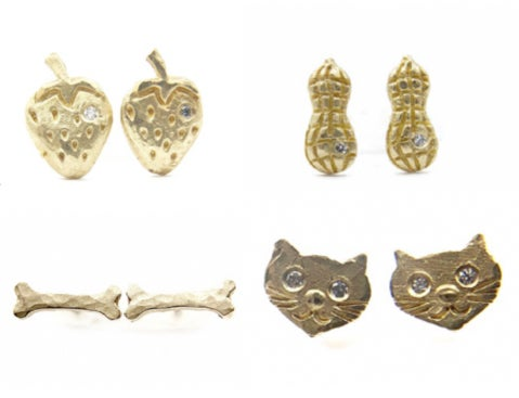 Image of Peanut Studs, Strawberry Studs, Cat Studs or Dog Bones! (14 kt and diamond)