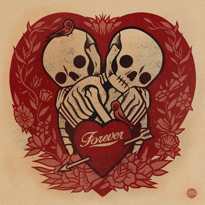 Image of Skeletons Forever - Print (RED)