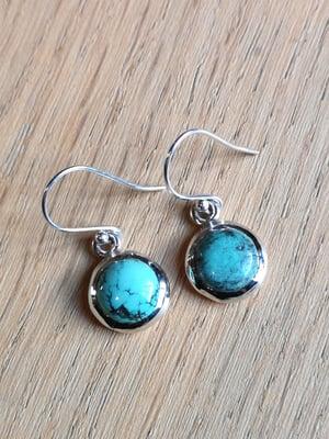 Image of Boucles d'oreilles turquoise du tibet naturelle ref. 6556