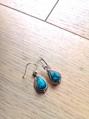 Image of Boucles d'oreilles turquoise du tibet ref. 6560