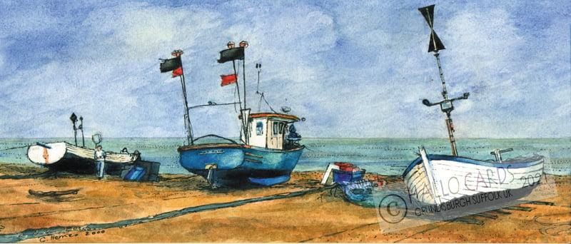 Image of Three Fishing Boats - Aldeburgh - Suffolk