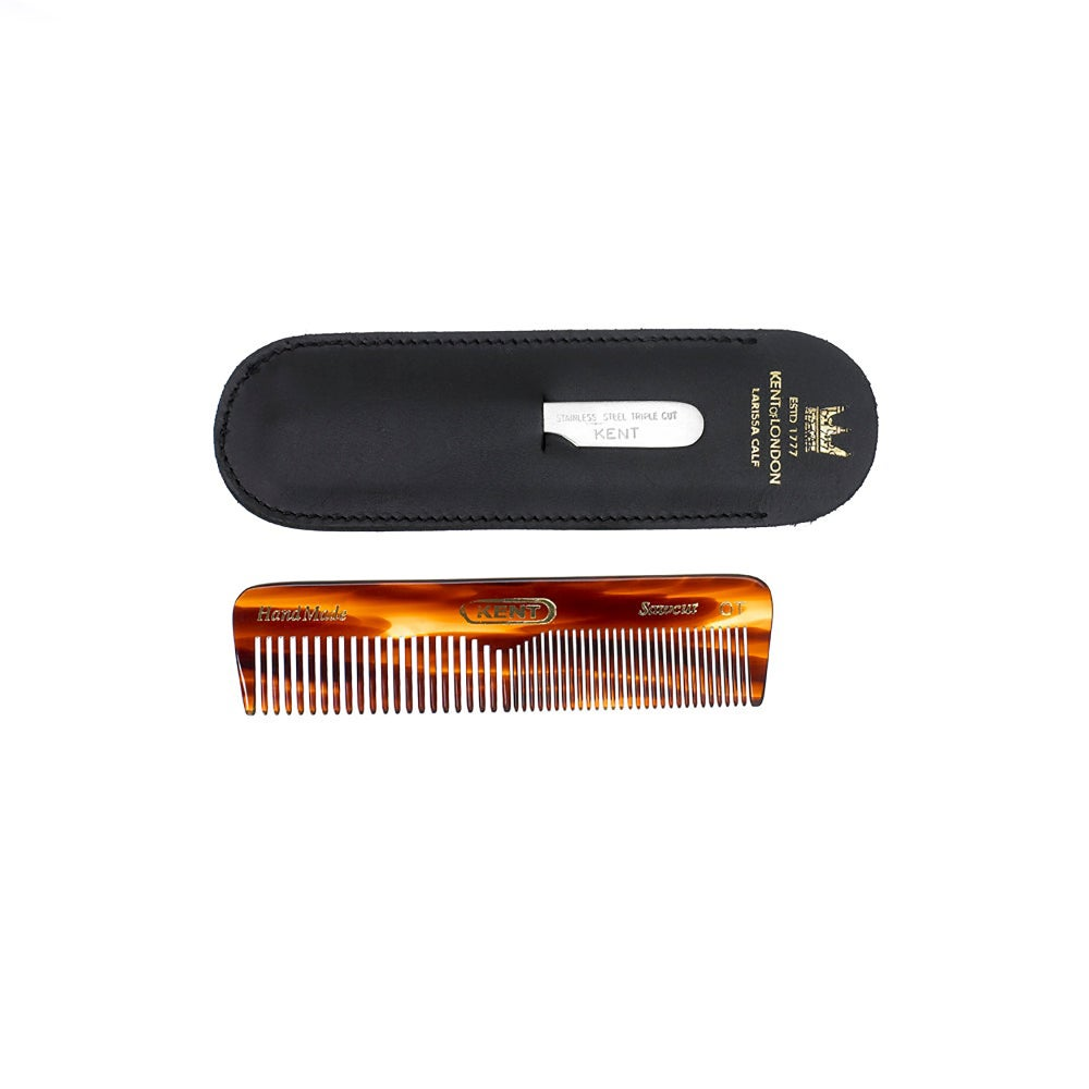 Image of Coarse Fine Comb with Leather Case and Metal File 110mm