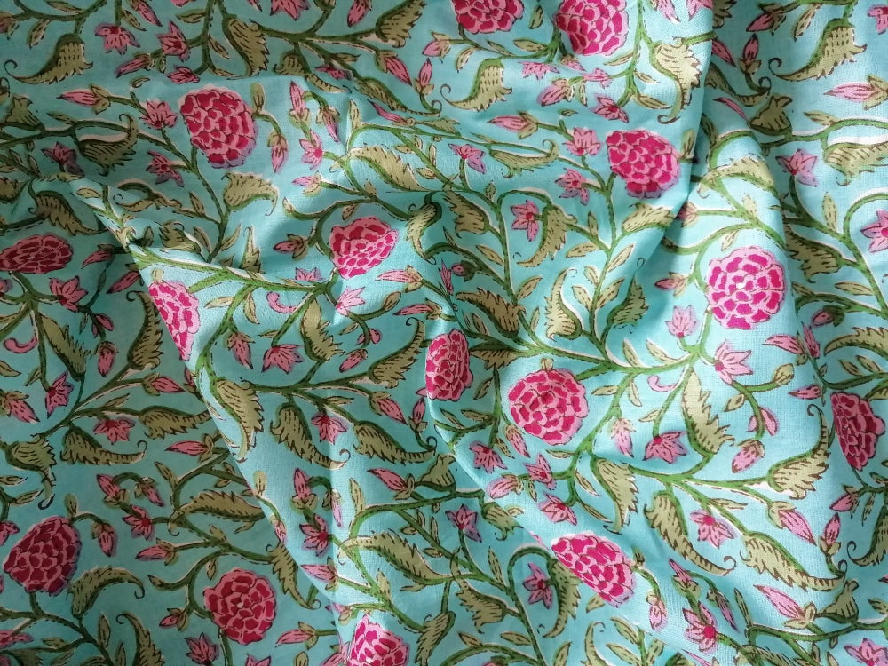 Image of Namasté fabric rosier fond turquoise
