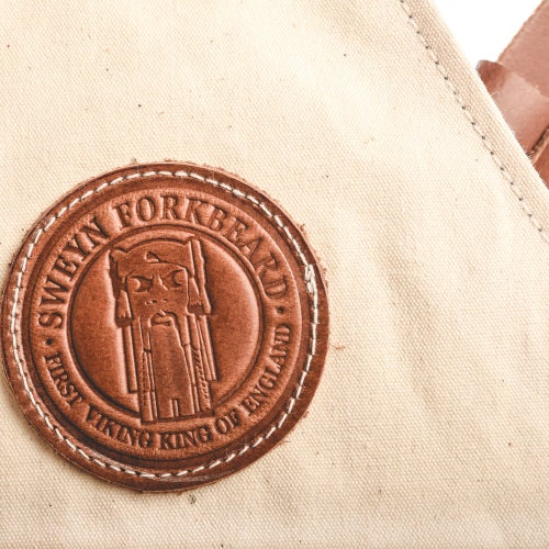 Image of Barber Vest in Canvas Cream Color with leather Pockets and Straps