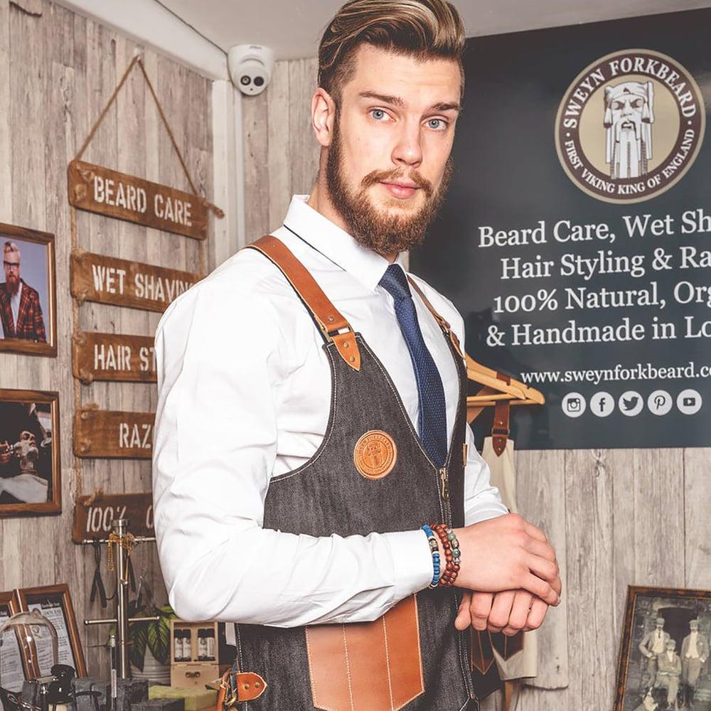 Image of Barber Vest in Black Denim with Leather Pockets and Straps