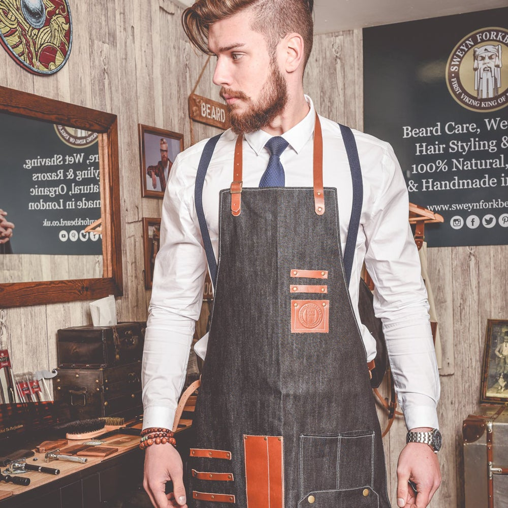 Image of Barber Apron in Black Denim with leather Pockets and Straps