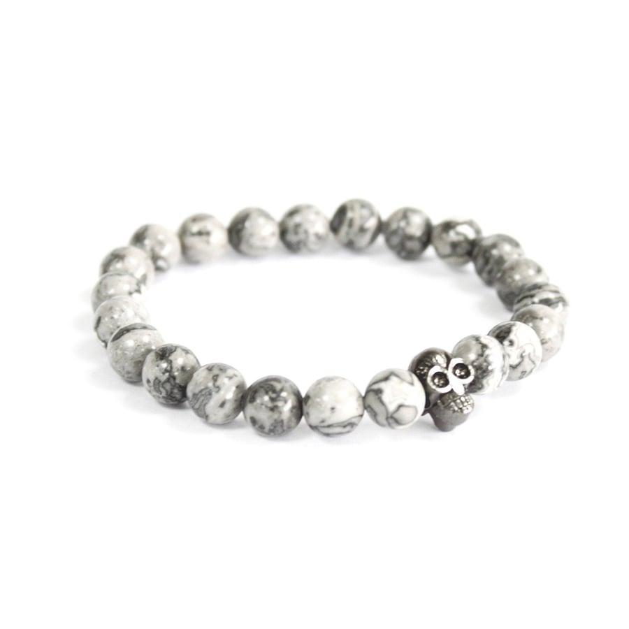 Image of Pewter Skull Grey Agate Bracelet