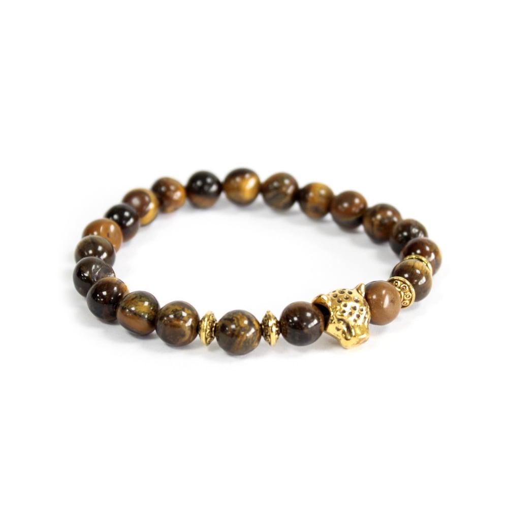 Image of Bracelet Tiger Eye Stone with Gold Tiger