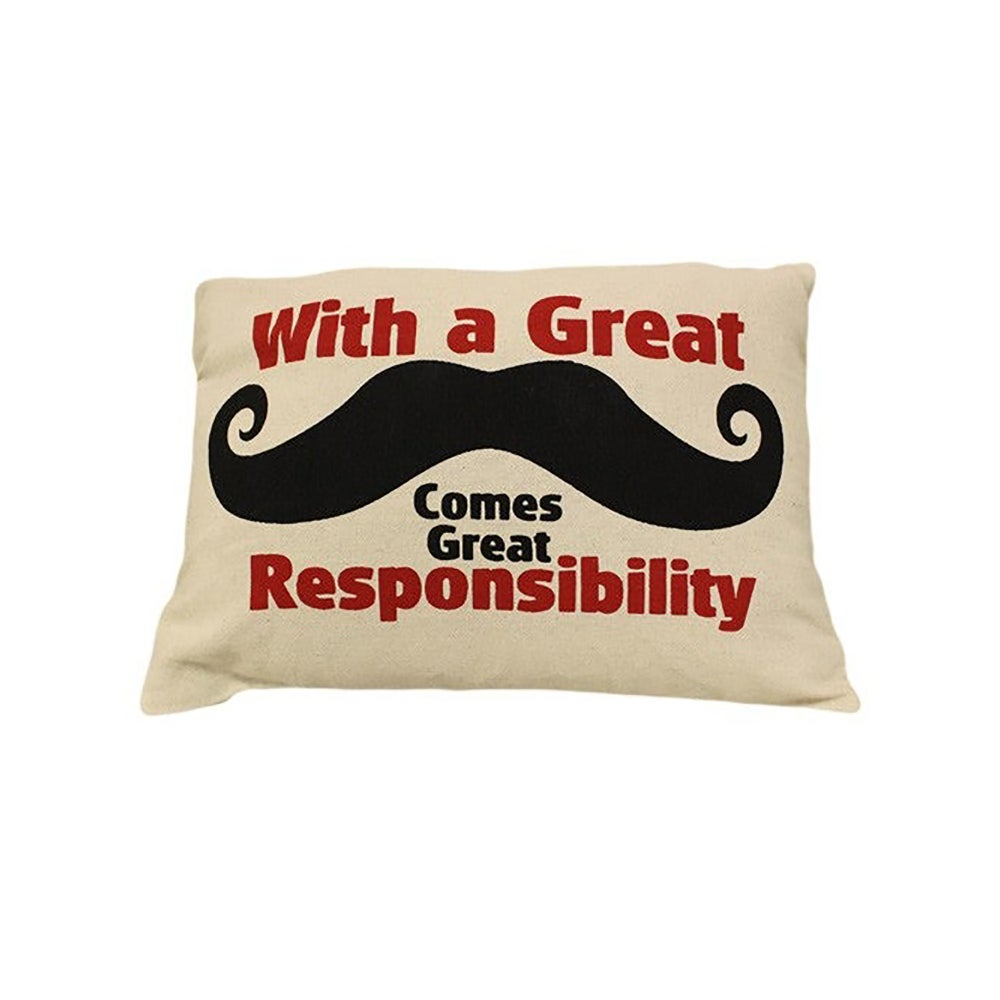 Image of Cushion Cover With a Great Moustache Comes Great Responsibility