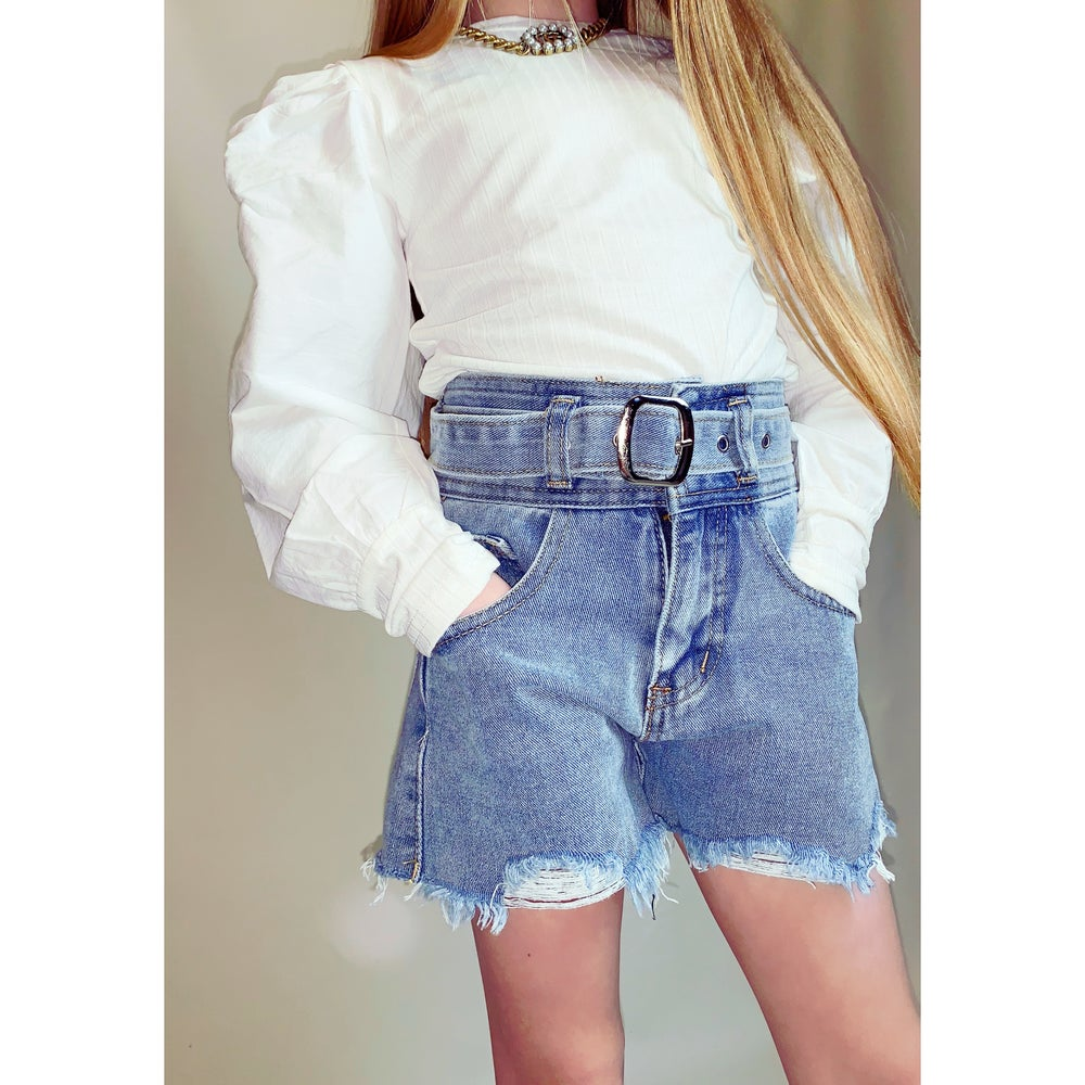 Image of Girls High Waisted Denim Shorts