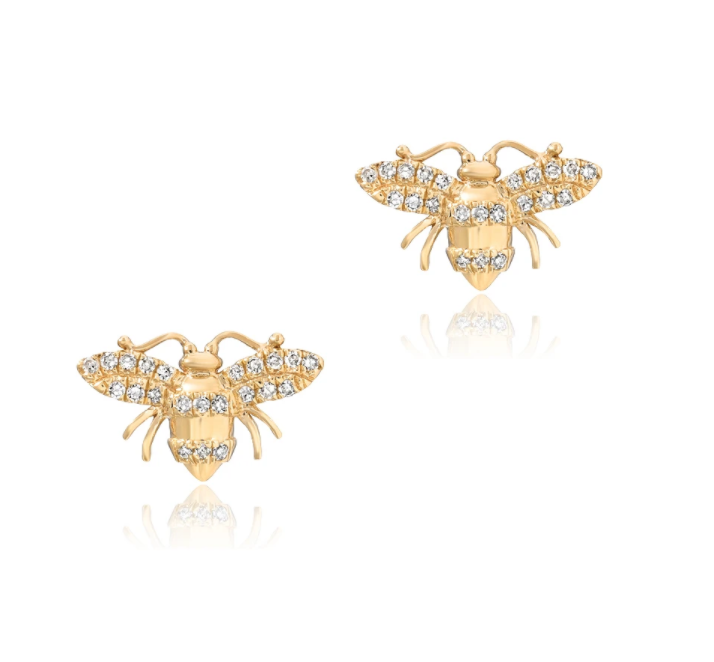 Image of Petite Bee Earrings, Small Bee Studs, or Small Bee Necklace (14 kt yg and dia)