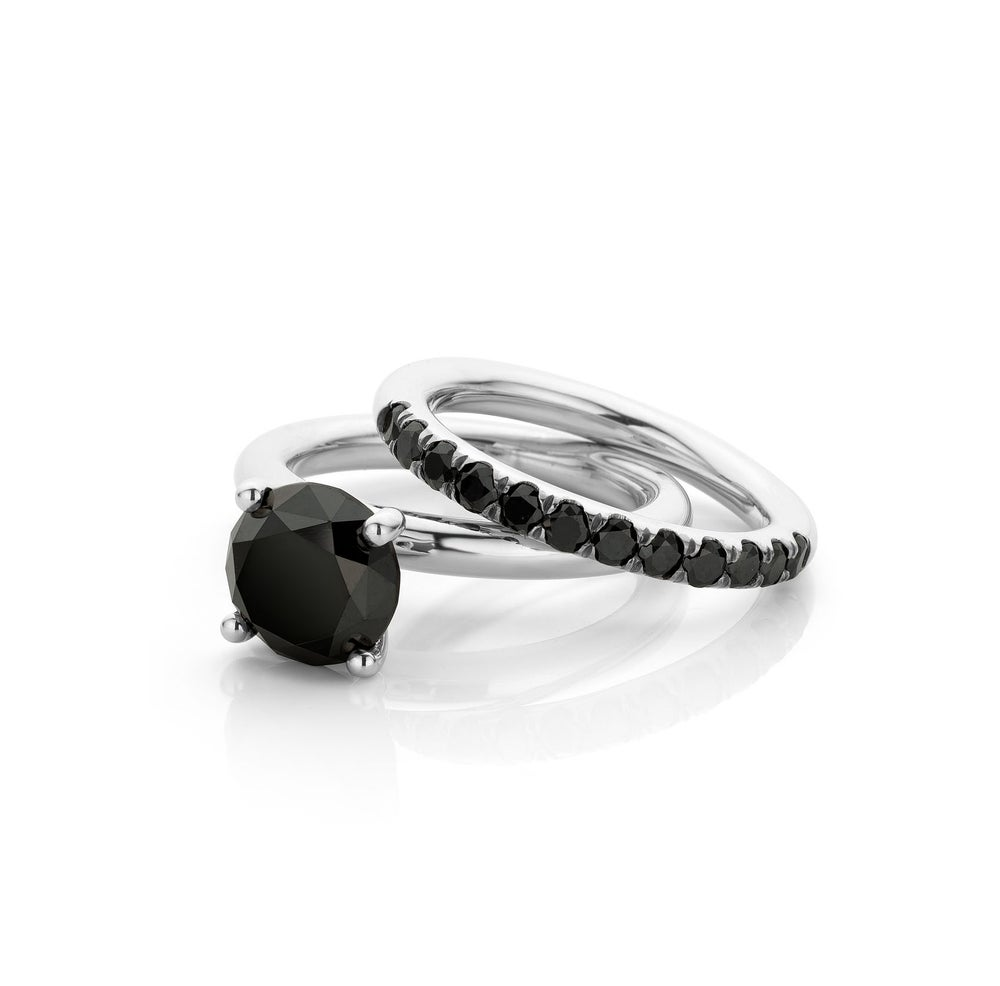 Image of stapelring solitaire wit goud zwarte diamant - stacking ring solitaire white gold black diamond