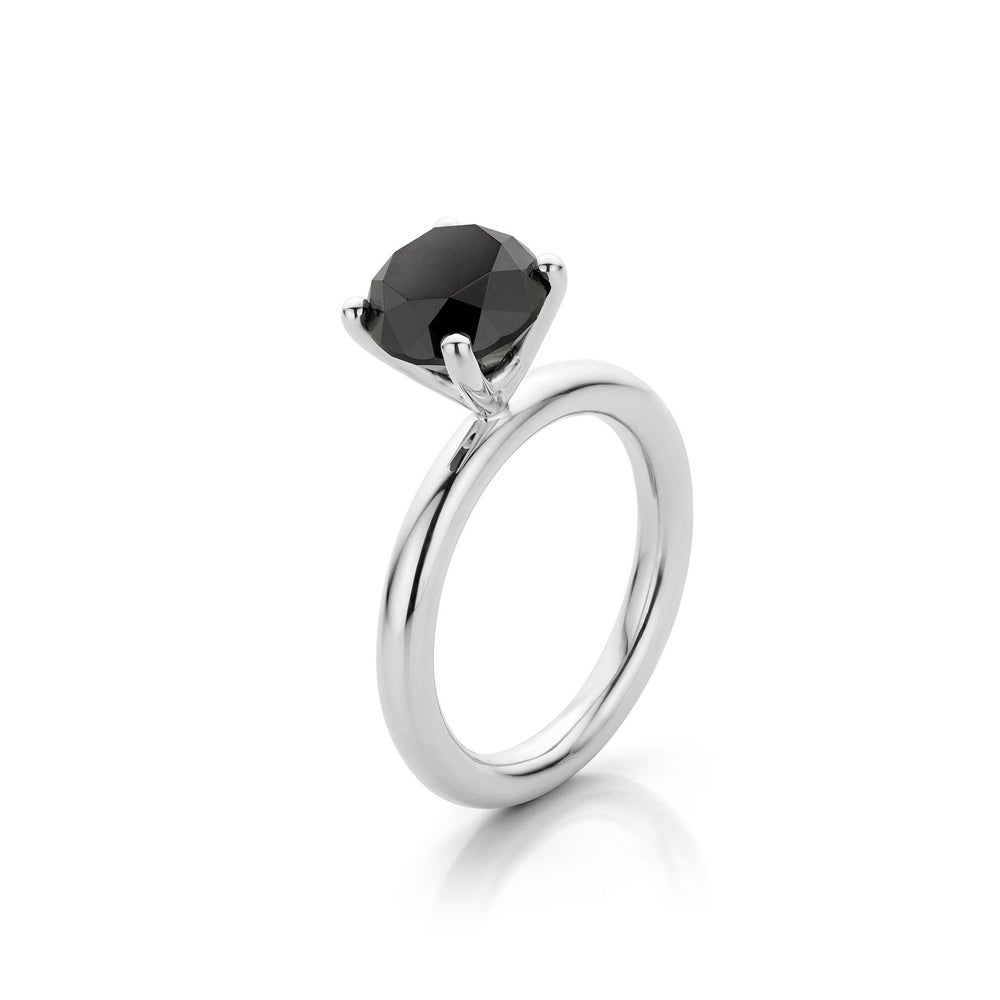 Image of solitaire wit goud zwarte diamant - solitaire white gold black diamond