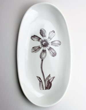 "Image of 13"" serving tray with cosmos, ivory"