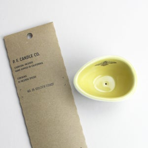 """Image of pebble incense holder, mustard with bee, plus yummy p.f. candle """"golden coast"""" incense"""